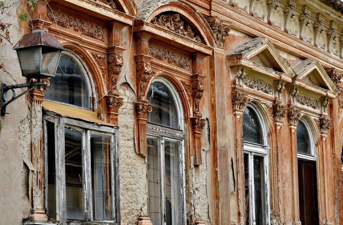 abandoned, baroque, decay, facade, windows, building, architecture, old, vintage, antique