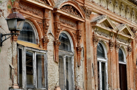 abandoned, baroque, decay, facade, windows, building, architecture, old, vintage, antique