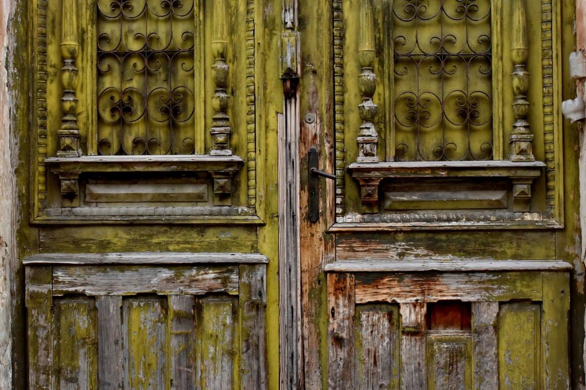 abandonado, carpintería, caries, puerta, entrada, puerta, hecho a mano, madera dura, roble, antiguo