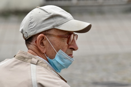 coronavirus, elderly, face mask, hat, hygiene, infection, man, portrait, protection, senior