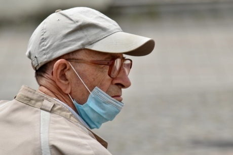 eye disease, eyeglasses, face mask, medical care, portrait, side view, man, person, people, elder