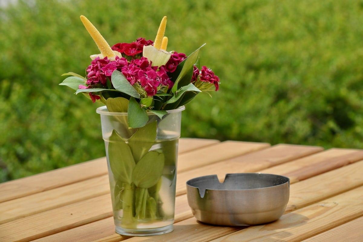 kül tablası, güzel çiçekler, buket, karanfil, Resepsiyon, çiçekler, Vazo, çiçek, doğa, yaprak