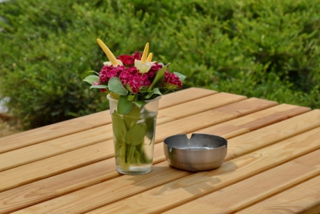 ashtray, bouquet, still life, vase, wood, leaf, flower, summer, bamboo, garden