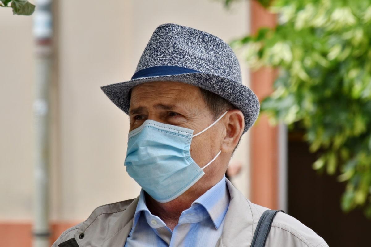 zakenman, ondernemer, coronavirus, gezichtsmasker, hoed, besmettelijke ziekte, man, masker, gepensioneerde, portret