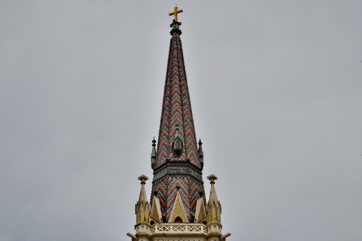 基督教, 高耸, 丰富多彩, 十字架, 哥特式, 里程碑, 塔, 体系结构, 构建, 艺术