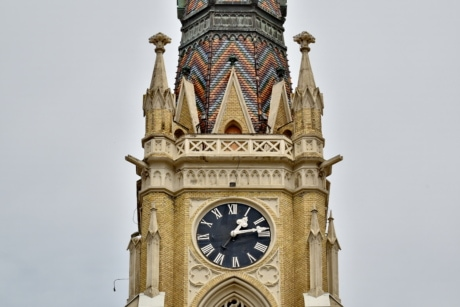 analog clock, bricks, cathedral, catholic, church tower, culture, landmark, clock, tower, timepiece