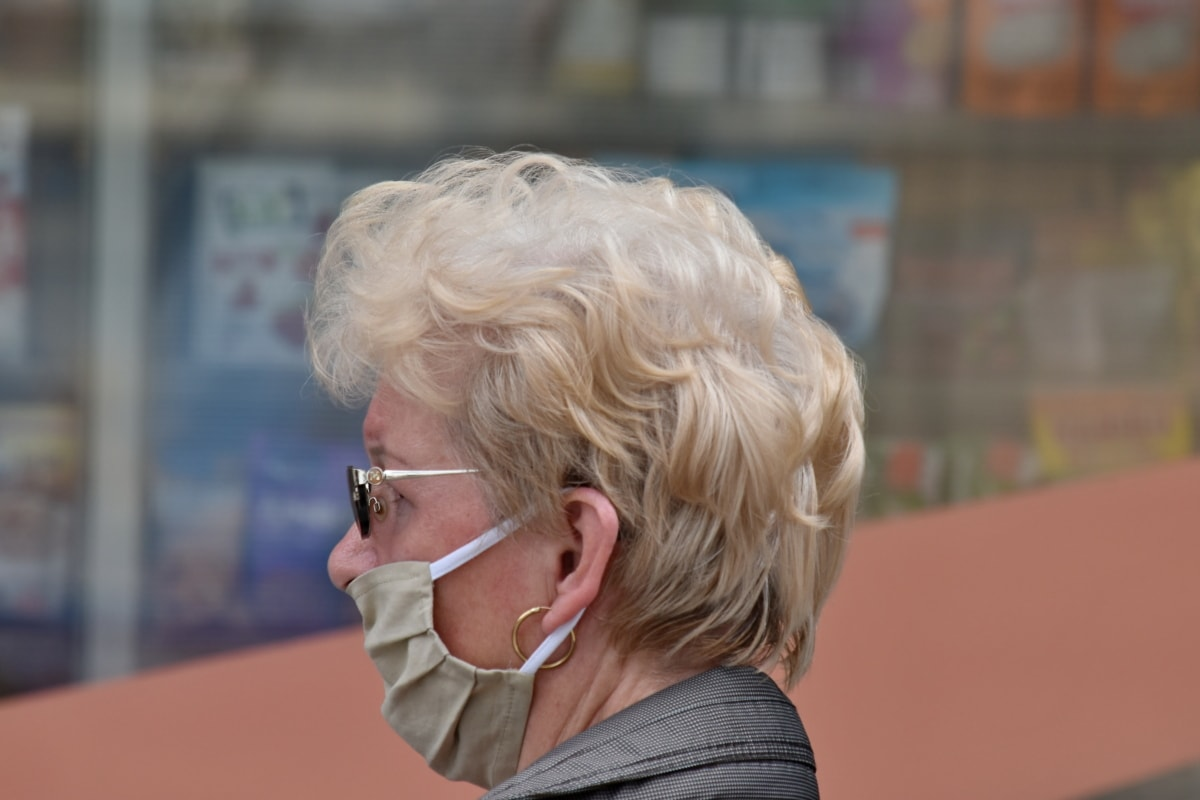 forretningskvinde, coronavirus, COVID-19, ansigtsmaske, hygiejne, Portræt, profil, beskyttelse, sideudsigt, solbriller