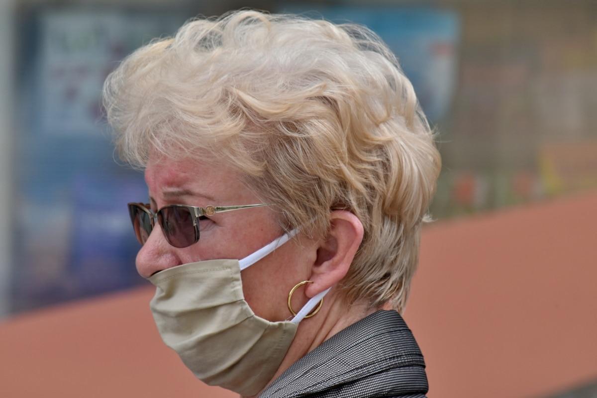 iş kadını, coronavirüs, yüz maskesi, saç modeli, Sağlık, grip, portre, oldukça, kadın, sarışın