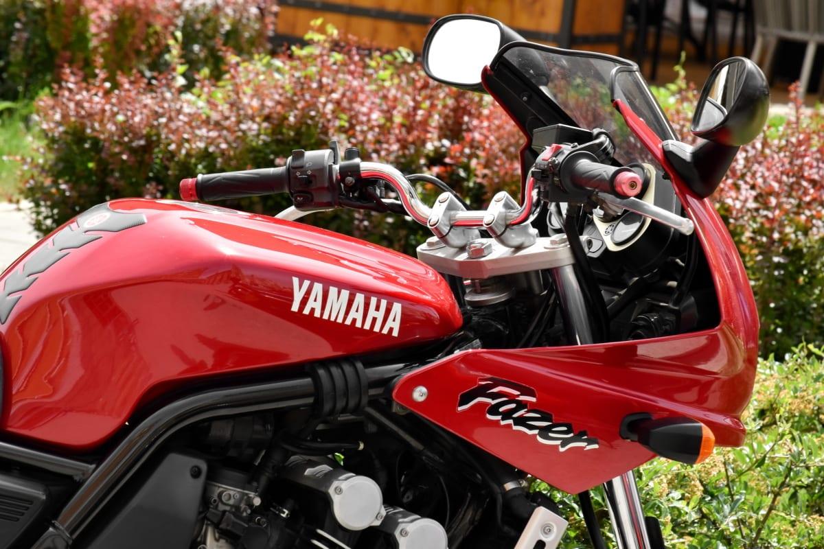 dashboard, gauge, motorcycle, speedometer, steering wheel, Yamaha, conveyance, bike, vehicle, chrome