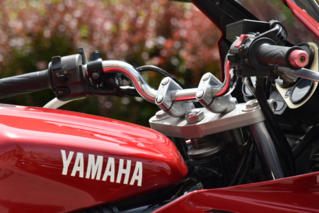 dashboard, engine, fast, gauge, metallic, motorcycle, speed, steering wheel, Yamaha, transportation