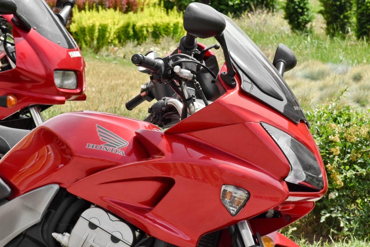 frontlys, Japan, metallisk, motorsykkel, motorsykkel, rød, transport, kjøretøy, stasjon, krom