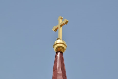 blue sky, church tower, cross, gold, orthodox, religion, Serbia, spirituality, architecture, traditional
