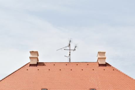antenna, architectural style, chimney, exterior, house, household, outdoor, roof, rooftop, device