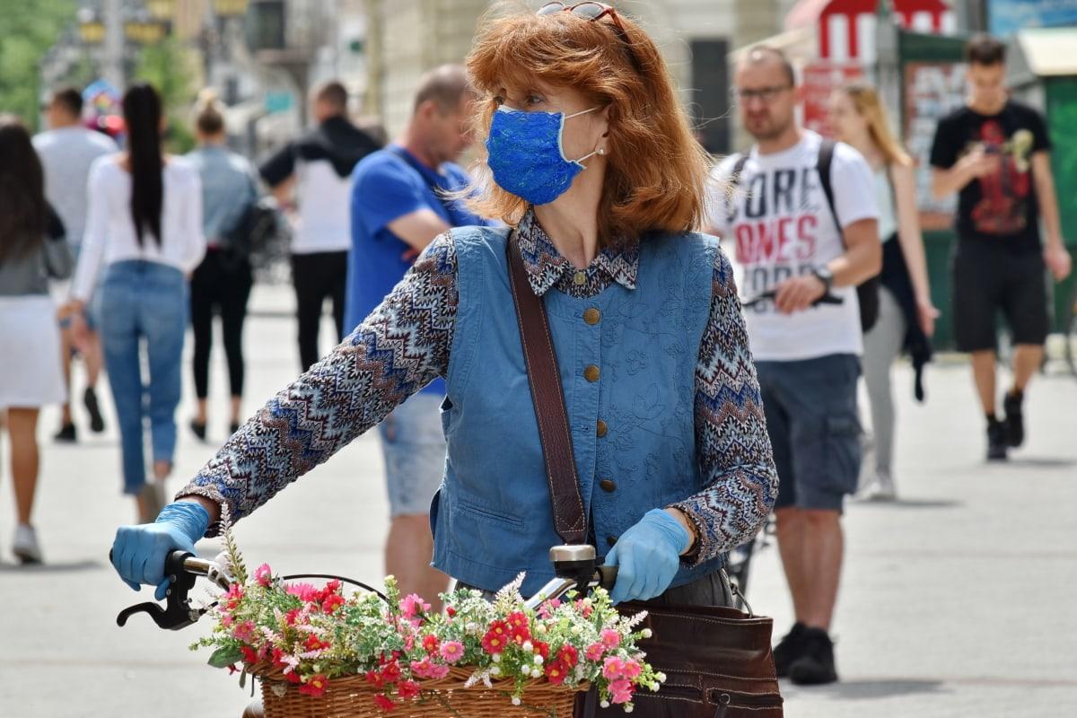 beautiful, bicycle, coronavirus, COVID-19, crowd, face mask, fashion, gloves, gorgeous, protection
