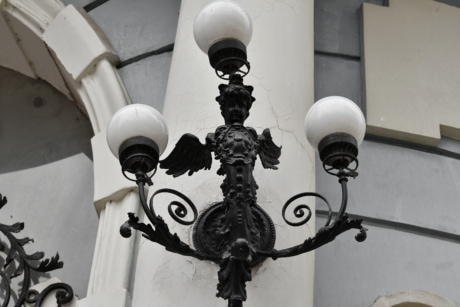 angel, art, black, cast iron, facade, lamp, chandelier, architecture, urban, lantern