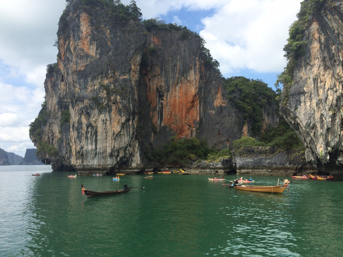 Asia, boats, cliff, natural park, water, boat, sea, landscape, ocean, island