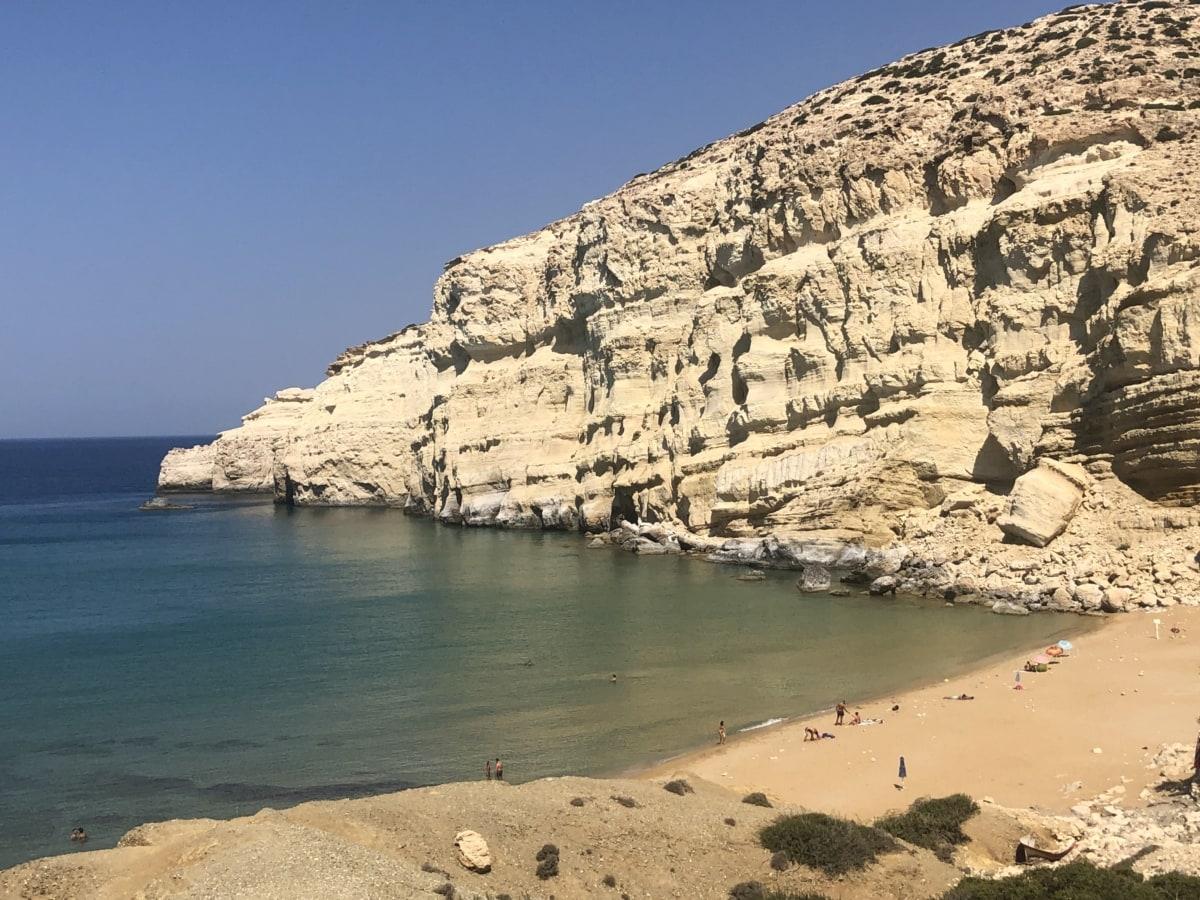 cliff, coastline, ocean, beach, water, sea, rock, coast, landscape, sand