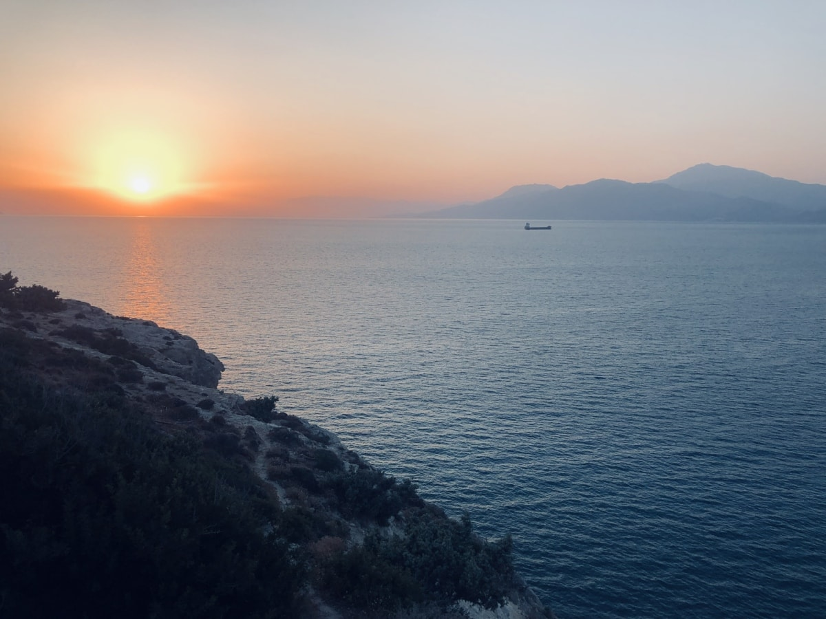 Клиф, зората, хоризонт, изгрев, море, крайбрежие, залез, слънце, нос, пейзаж