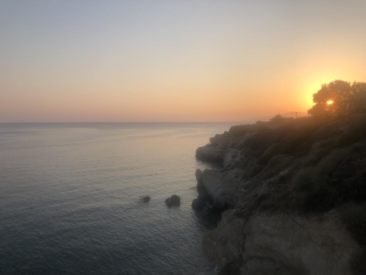 falaise, brumeux, lever du soleil, taches solaires, aube, mer, côte, rivage, plage, paysage