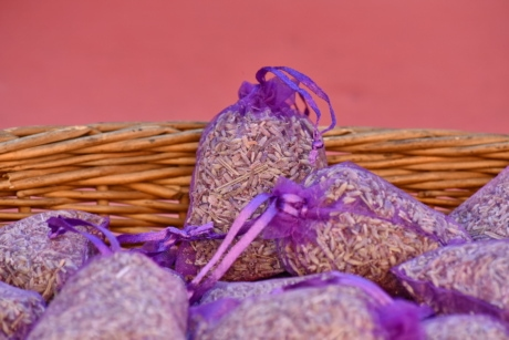 bags, fragrance, lavender, still life, wicker basket, decoration, purple, needle, pink, close-up