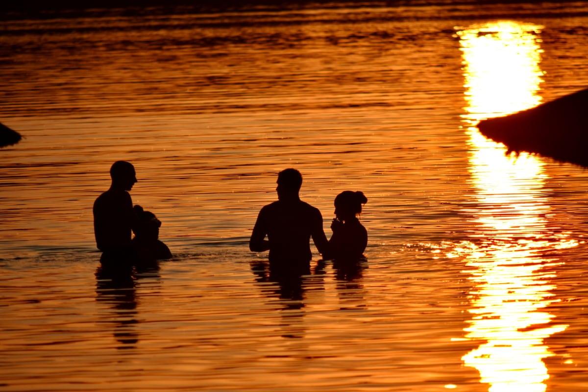exotique, amusement, nuit, gens, silhouette, l'été, piscine, convivialité, tropical, pêcheur