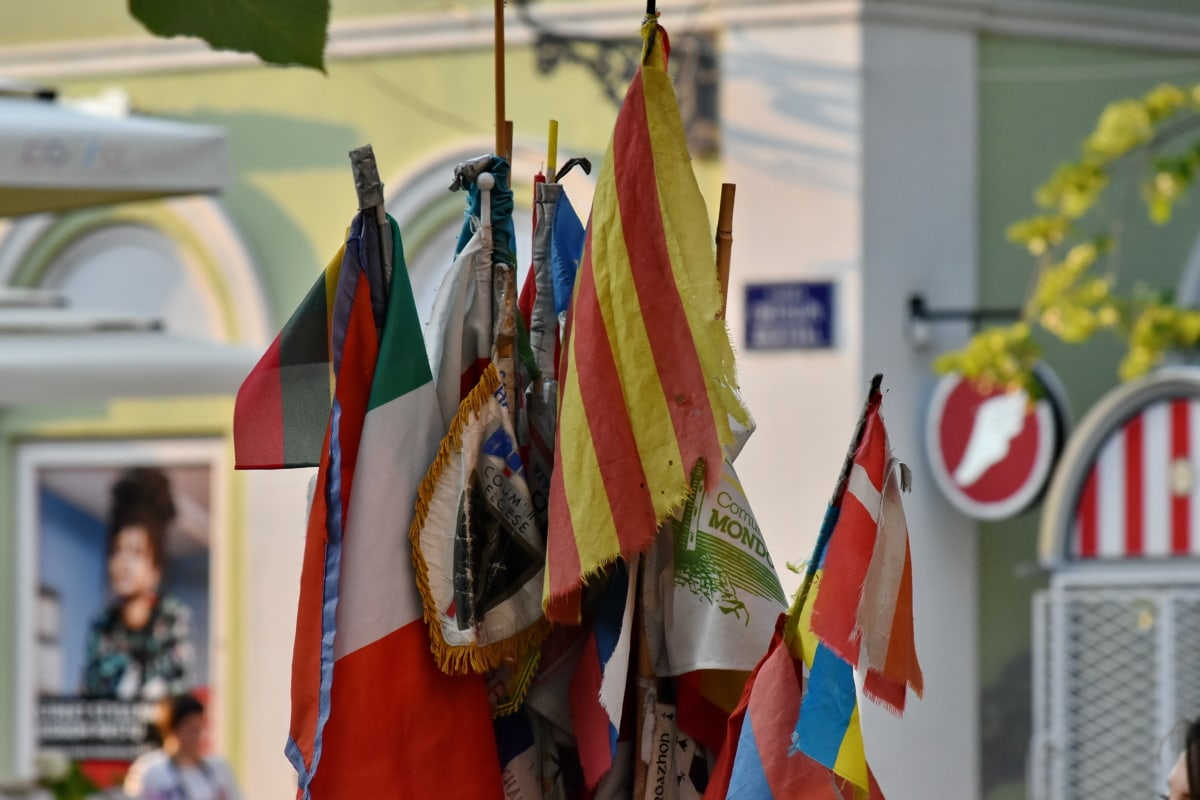 colorful, tourist attraction, emblem, flag, street, city, parade, festival, patriotism, many
