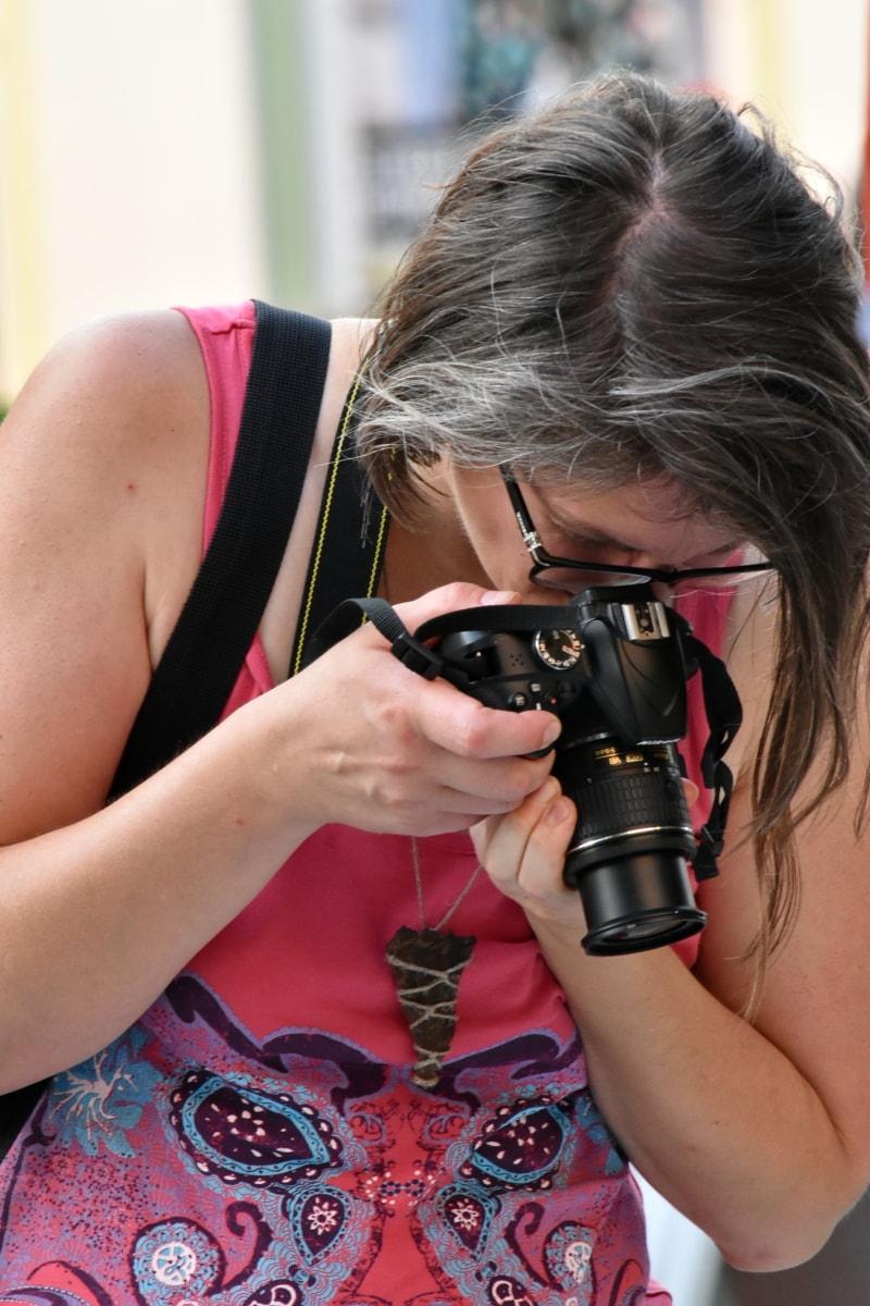 photographie, professionnel, jeune femme, Zoom, objectif, femme, équipement, appareil photo, ouverture, joli