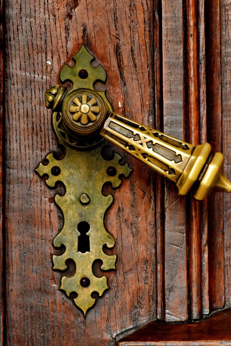 Barok, pirinç, marangozluk, giriş, ön kapı, kolu, el yapımı, Parke, eski, kapı