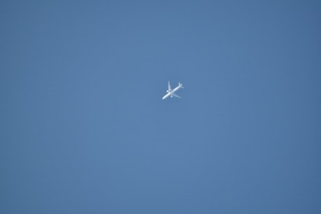 aircraft, blue sky, distance, white, airplane, plane, vehicle, device, wing, jet