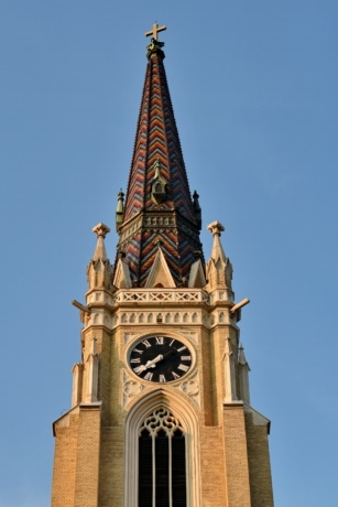bricks, church tower, cross, landmark, roof, building, architecture, clock, church, old