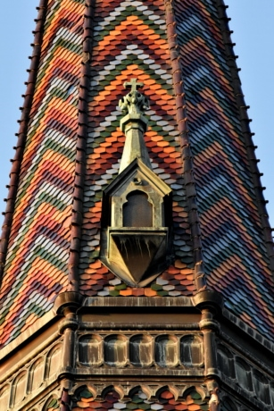 church tower, colorful, design, handmade, roof, rooftop, tiles, window, tower, building