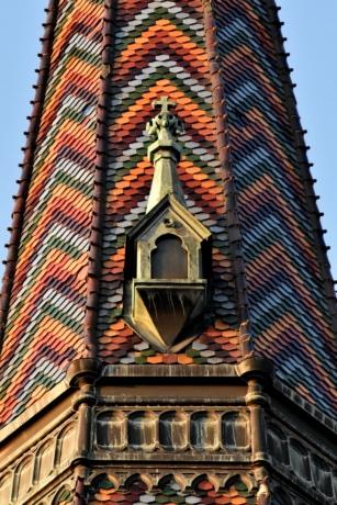 kirketårnet, farverige, design, håndlavede, Tag, tagterrasse, fliser, vindue, tårn, bygning