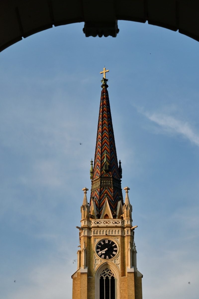 arch, blue sky, cathedral, catholic, church tower, spirituality, building, landmark, architecture, covering