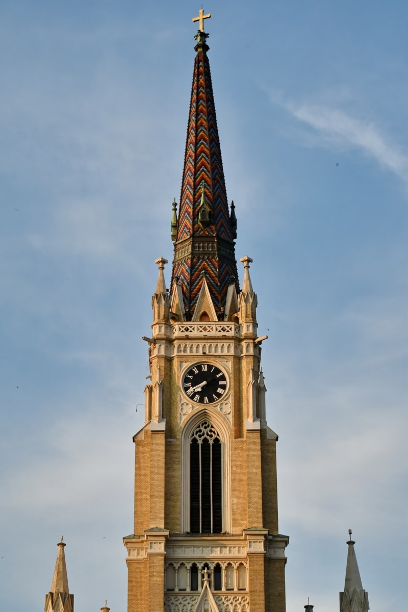 cathedral, catholic, christianity, church tower, colorful, Serbia, tourist attraction, clock, tower, architecture
