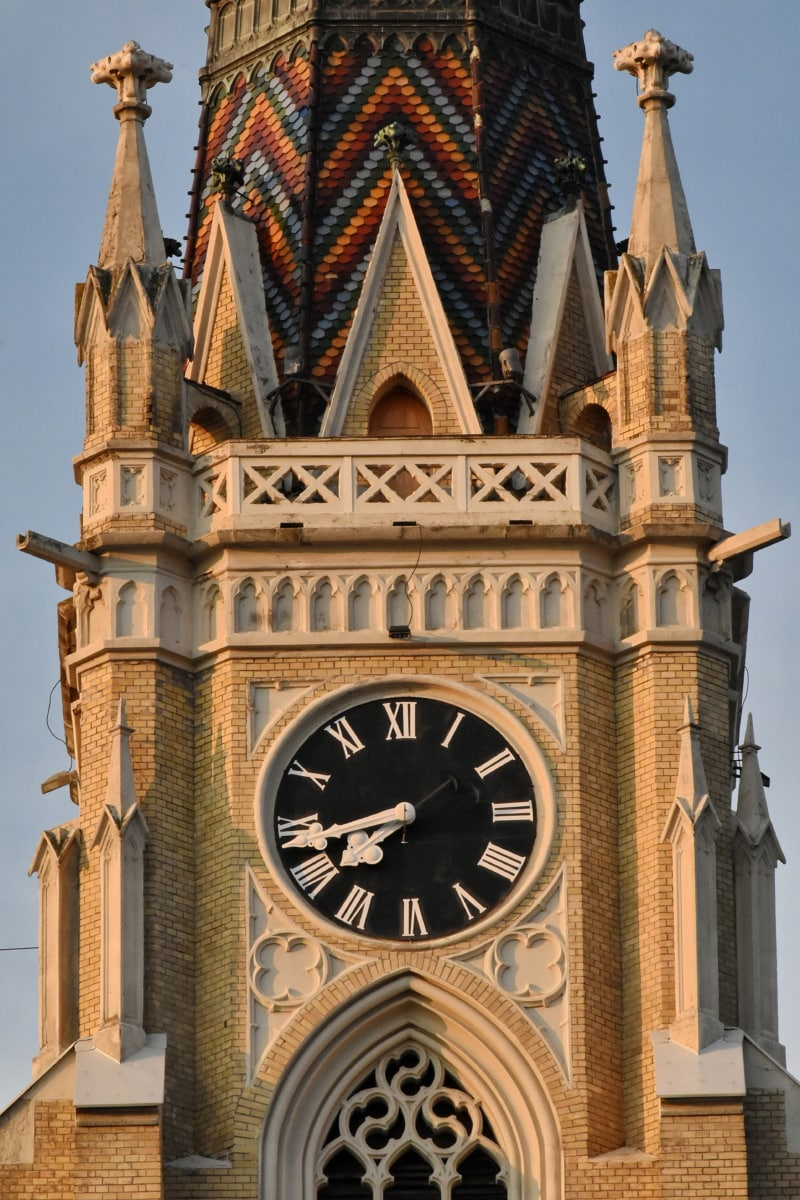 analog clock, bricks, cathedral, catholic, church tower, landmark, building, architecture, church, clock