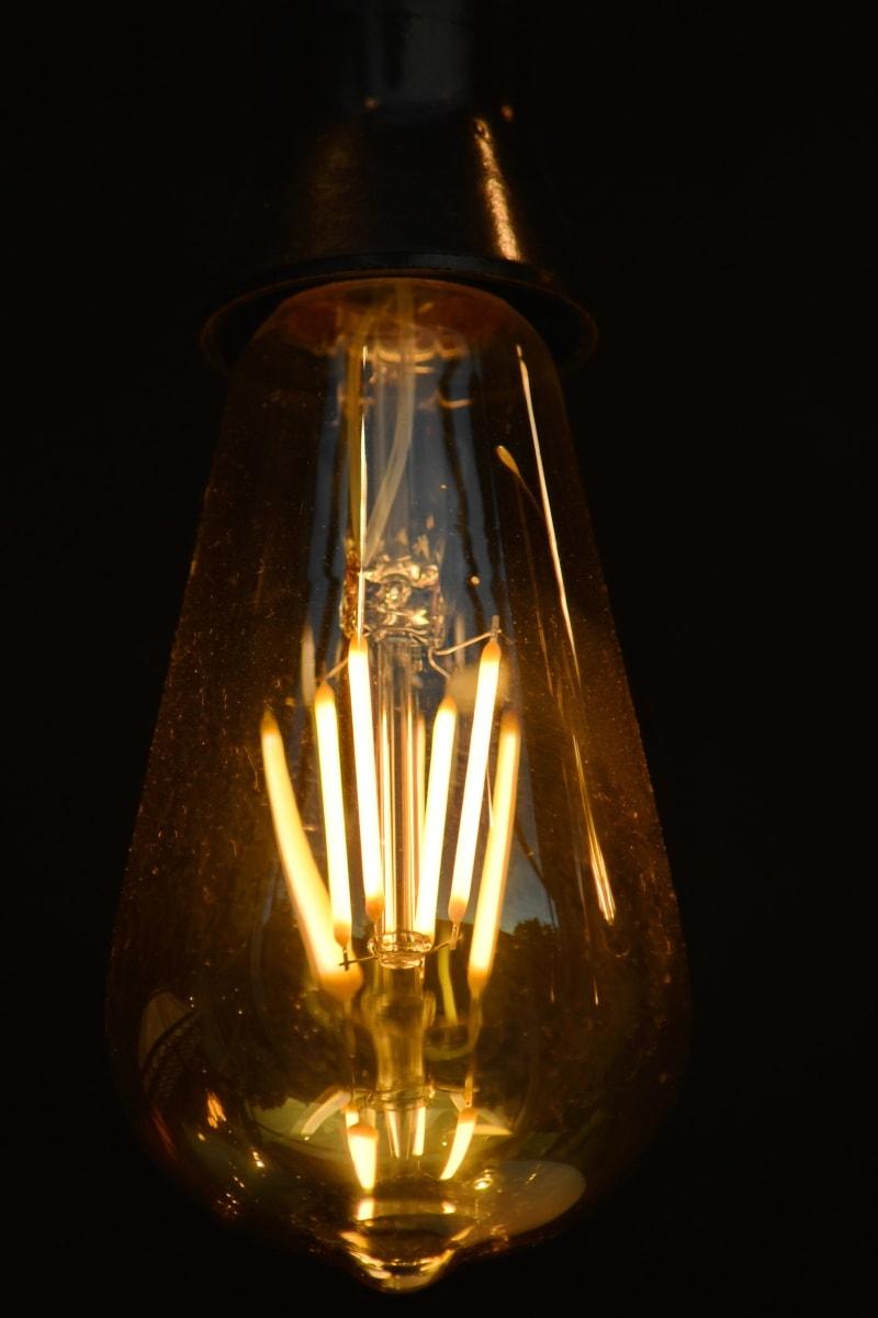 électricité, illumination, lumière, réflexion, tension, fils, ampoule, lampe, fil, nuit