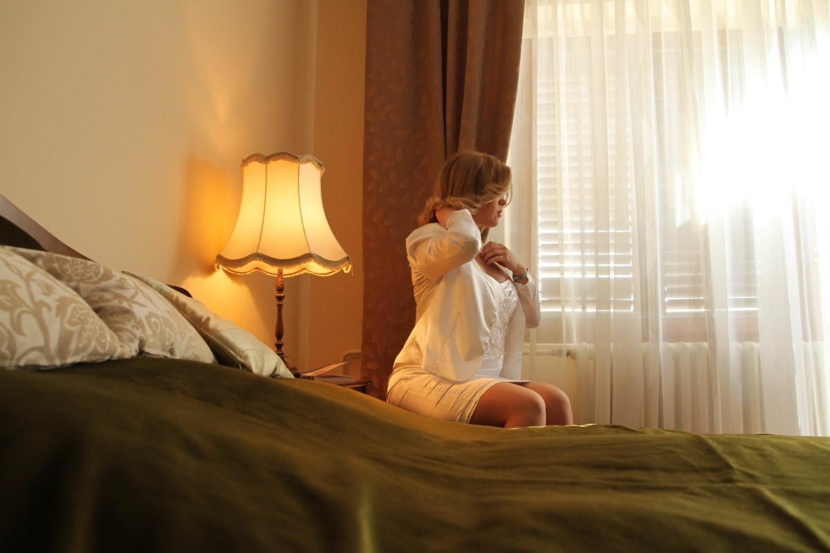 bedroom, blonde hair, bride, gorgeous, hotel, pretty girl, wedding, room, bed, home