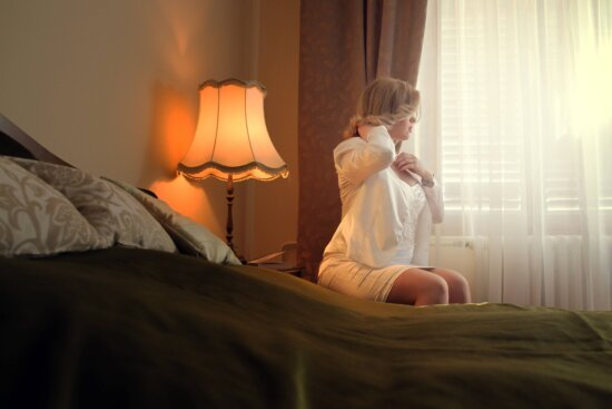 bride, curtain, elegance, glamour, gorgeous, lamp, pretty girl, sitting, room, bed