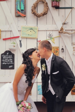 bride, dress, groom, happiness, kiss, love, pretty girl, smile, standing, suit