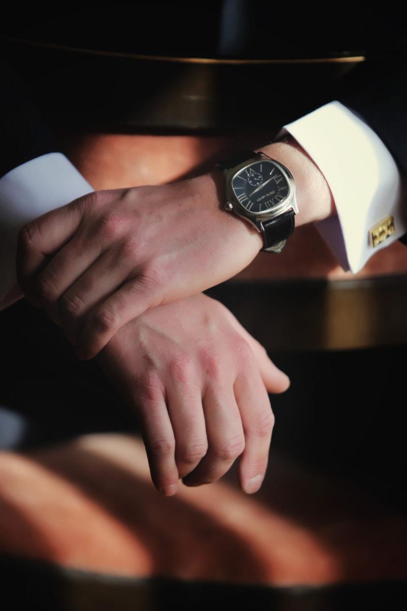 orologio analogico, eleganza, sposo, mani, tuta, orologio da polso, ora, mano, persone, uomo