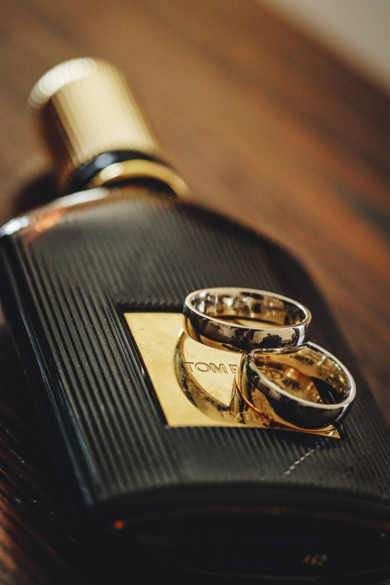 bottle, gold, golden glow, reflection, wedding ring, still life, indoors, drink, container, wine