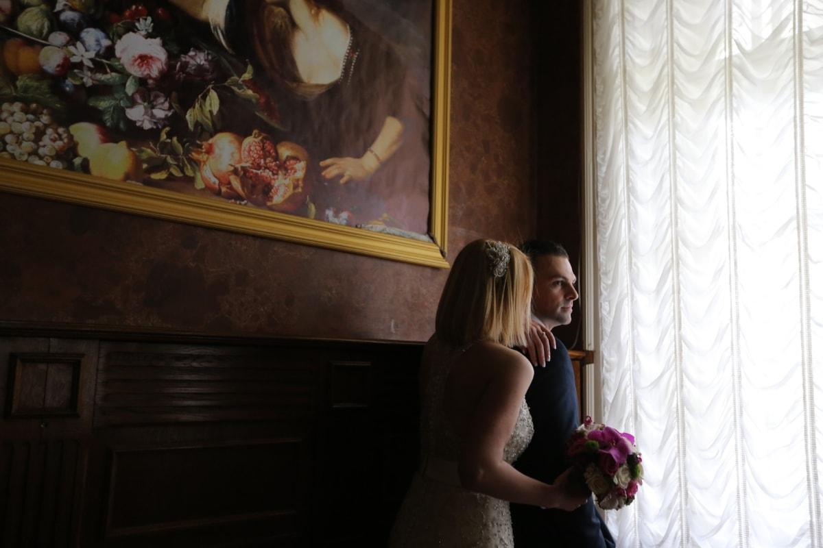 bride, confidence, curtain, fine arts, groom, interior decoration, love, pretty girl, romance, shoulder
