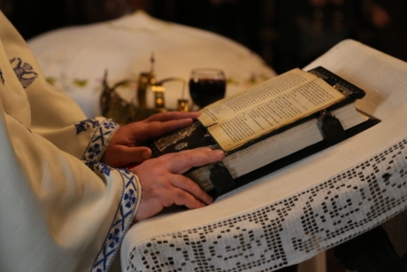 bible, book, ceremony, church, event, hands, priest, hand, paper, work
