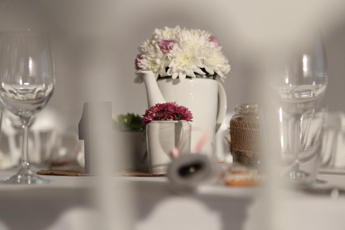 buket, naočale, stakleni proizvodi, bacač, restoran, vaza, cvijet, cvijeće, kup, dekoracija