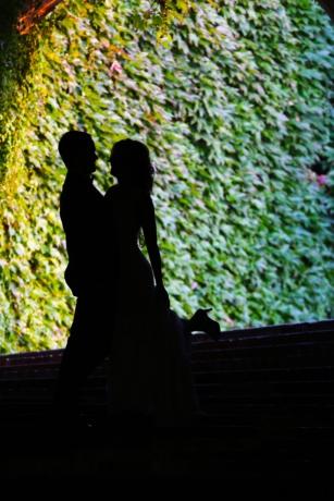булката, цветни, младоженеца, щастие, прегръдка, прегръща, осветление, брак, женен, сянка