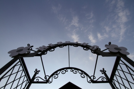 blue sky, cast iron, front door, gate, gateway, metal, metallic, wedding, device, iron