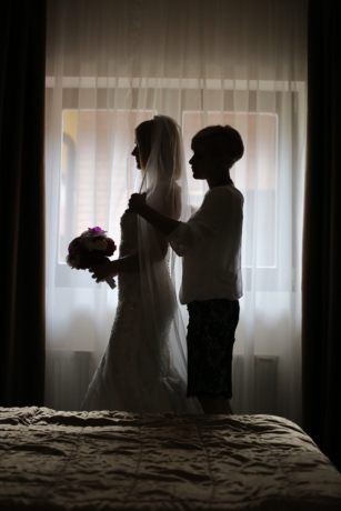 υπνοδωμάτιο, μπουκέτο, κουρτίνα, πορτρέτο, σκιά, συντροφικότητα, Γάμος, παράθυρο, Αγάπη, φόρεμα