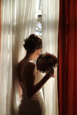cortina, lindo, Senhora, garota bonita, janela, amor, vestido, noiva, casamento, casado