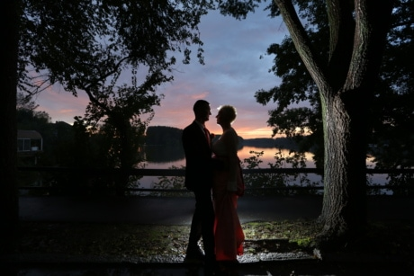 bride, Danube, dusk, lakeside, romantic, silhouette, wedding, groom, tree, people