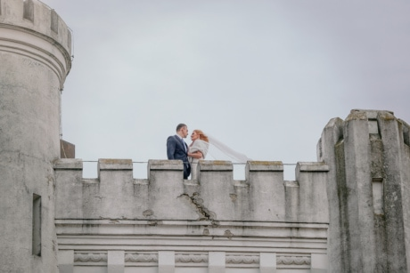 bride, castle, fortress, groom, tower, wind, architecture, building, outdoors, people